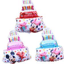 "Mini Happy Birthday cake foil balloon pink Minnie Mickey mouse 39 x 29cm 15"" x 1"