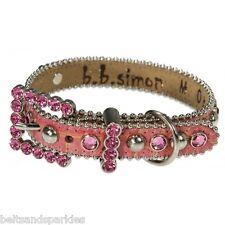 BB Simon Pink Leather Dog Collar Small