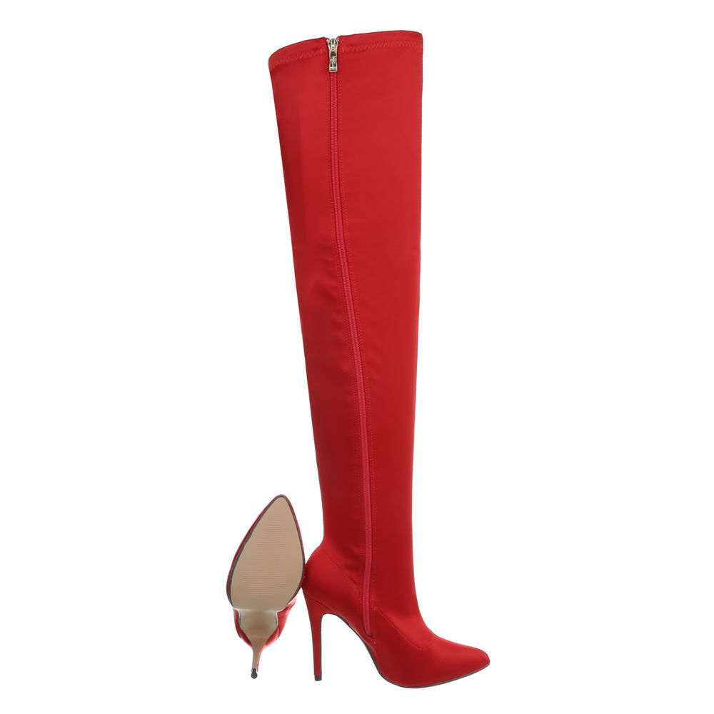 Aktuelle Damen sexy Overknee Stiefel Schuhe High Heels Stiefel 02984 Rot 37