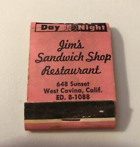 Details About Old Matchbook Cover Jim S Sandwich Shop Restaurant West Covina Ca