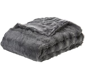 Furry Throw Blanket Cute Fluffy Women Men Faux Fur Reversible Grey ... 69d252ad72