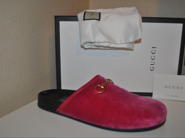 1fecf243a NIB GUCCI New River Slip On Mule Women's Shoe Raspberry Pink Velvet 40 - 10