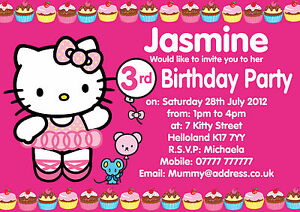 hello kitty personalised party invitations x10 b day invites or