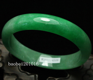 61mm Certified Natural Emerald Green Jadeite Jade Bangle Bracelet Handmade 0026