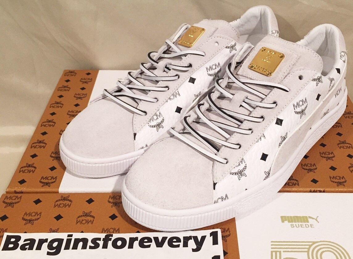 Men's Puma Suede Classic x MCM - Size 11.5 - White Puma Black White - 366299-02