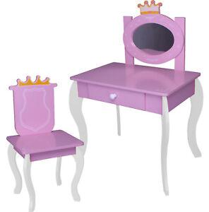 kinder schminktisch 120 weiss rosa spiegel frisiertisch stuhl tisch mdf holz ebay