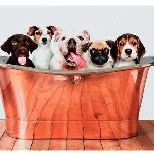 Puppies in Bath Art Print, Puppy Poster, Dog Print, Home Decor Wall Art