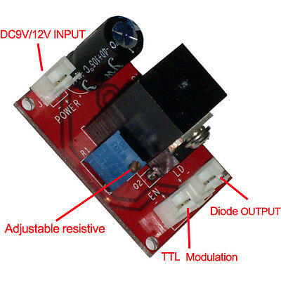 New Laser Diode laser module Driver for (100mW-2W) 445/450nm blue laser+ TTL
