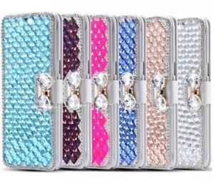 Lusso-Bling-fiocco-cristallo-diamante-Cover-Custodia-a-portafoglio-per-iPhone