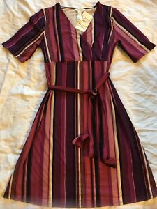 A35-Ma-Cherie-Maternity-Dress-Purple-Stripes-Short-Sleeve-Knit-Empire-Waist-Sz-S
