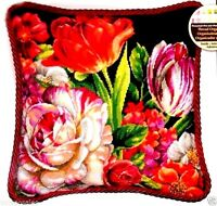 """Dimensions Needlepoint kit 14"""" x Pillow BOUQUET ON BLACK #71-20079 Craft Supplies"""