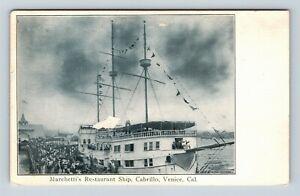 Venice CA, Marchetti's Restaurant Ship, Vintage California Postcard