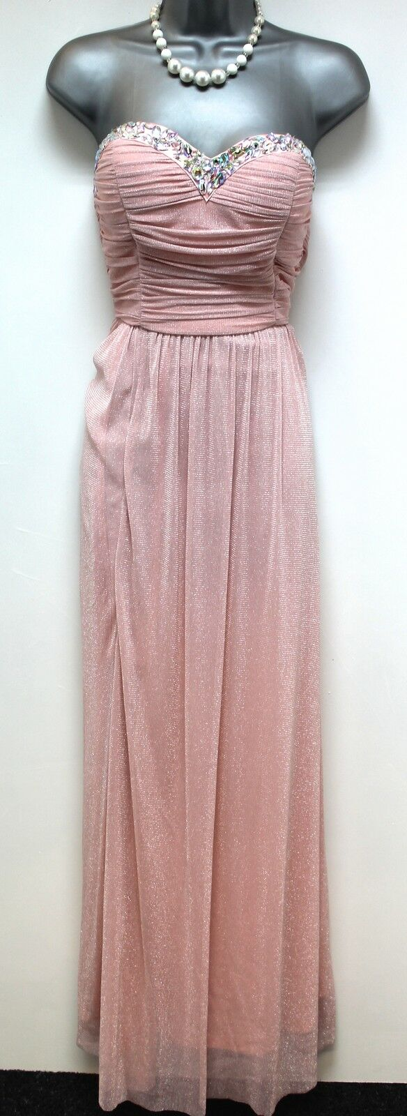 Stunning Quiz Pink Glitter Embellished Prom Evening Occasion Dress 10