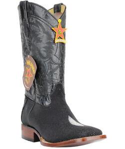 5331368180a Details about Men's Los Altos Genuine Stingray Western Boots Single Stone  Wide Square Toe