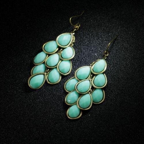 Boucles d/'Oreilles Chandelier Vert  Retro Style Original Soirée Mariage EE 4