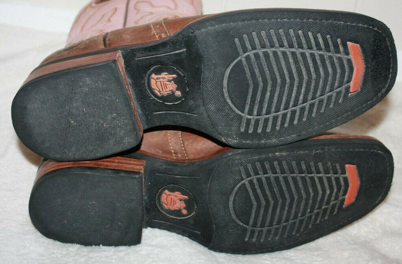 "REYME 11"" Ladies Brown & Pink Cowboy Boots Size 9 - image 10"