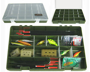 22 COMPARTMENT FLOAT RIG LURE FISHING TACKLE BOX TRAY 'TOUGH BOX' ADJUSTABLE