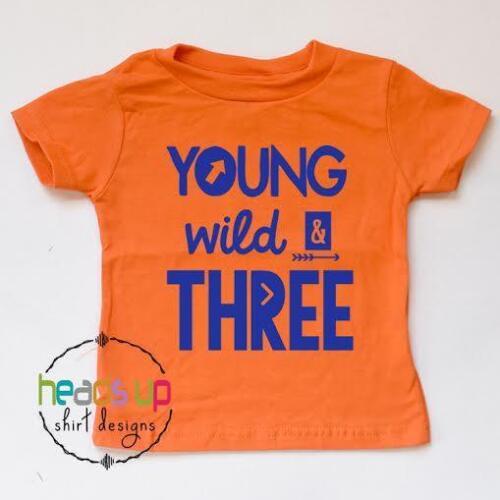 Third Young Wild and Three Bday Tee 3 Toddler Boy//Girl Three Birthday Shirt