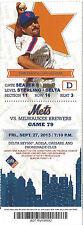 John Franco 1990 All-Star Mets vs. Brewers Citi Stub Sept 27 2013 Game 79