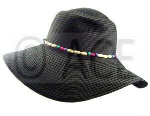 Womens Straw Summer Hats Ladies Wide Brim Bead Detail Black Sun ... 3b7eb691f402