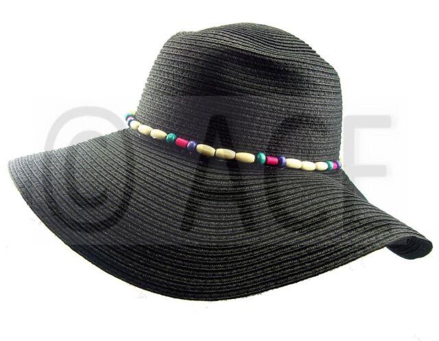 Womens Straw Summer Hats Ladies Wide Brim Bead Detail Black Sun Floppy Hat 6b702ac3de0