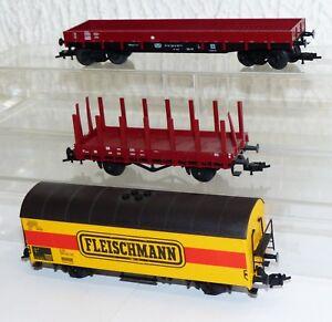 3x Fleischmann Wagons: Ged. Wagons, Rungenwagen, Niederbord Voiture H0-n H0