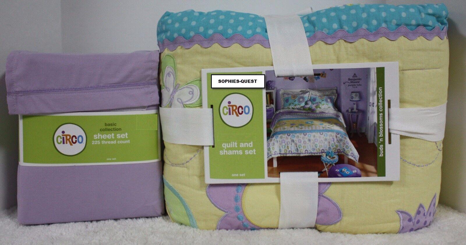 4  7 pc- Circo Buds Blossoms QUILT + SHAM + Sheet Set  Yellow Purple Dots Plaid