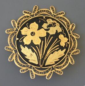 Vintage-Damascene-flower-Filigree-brooch-in-enamel-on-metal