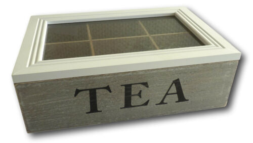 Teebox Teekiste Teekasten Teekästchen Holz Retro Vintage Shabby Chic 6 Fächer