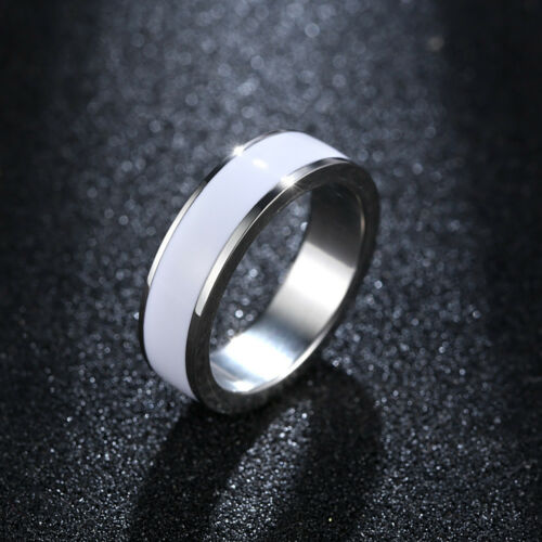 Fashion Womens Men Stainless Steel Smooth White Enamel Ring Size 6 7 8 9 jewelry