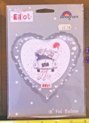 """Just Married Voiture Mariage Elliot éléphant mignon feuille hélium ballon 18/"""""""