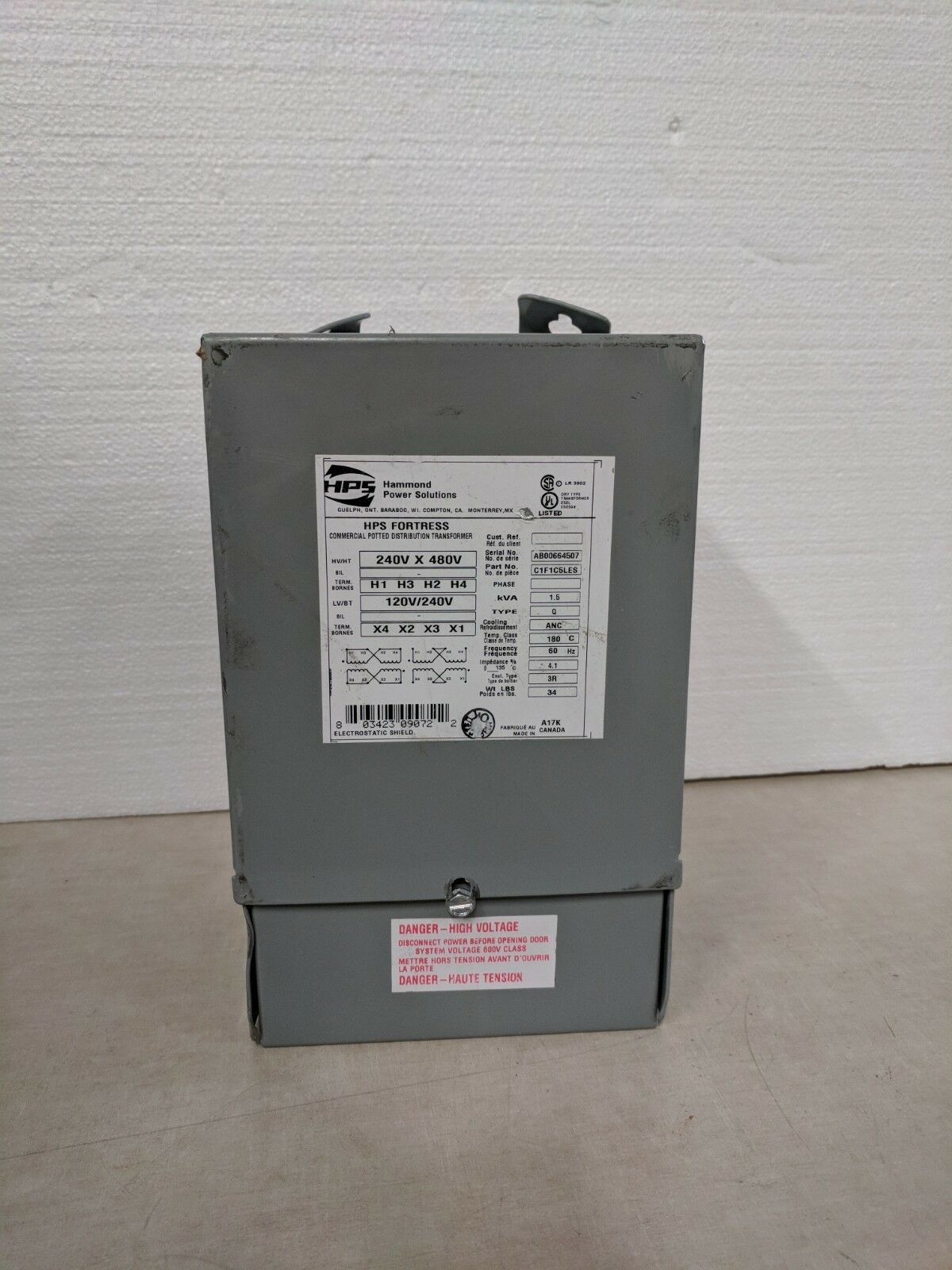 HAMMOND POWER SOLUTIONS INC C1F1C5LES, TRANSFORMER, HPS FORTRESS SERIE,