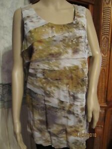 COLDWATER-CREEK-WASHABLE-NYLON-SLEEVELESS-LINED-GOLD-BROWN-WHITE-tank-TOP-SZ-1X