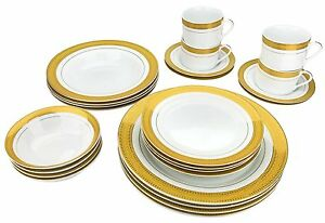 Image is loading Classic-Gold-Plated-Porcelain-Dinner-Service-for-Four-  sc 1 st  eBay & Classic Gold-Plated Porcelain Dinner Service for Four 24-Piece ...
