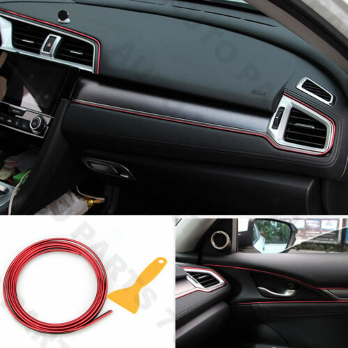 5M Car Interior Molding Trim Insert Decor Strip Line Gap Chrome Red Filler Kit