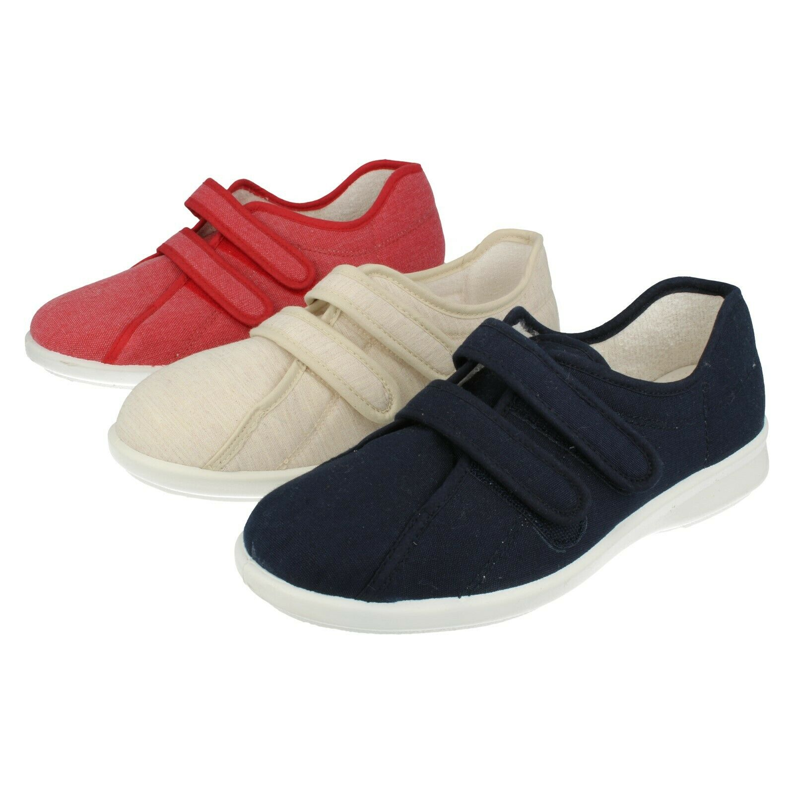 Señoras Azul Marino Rojo Beige Beige Beige Rip cinta fácil B Zapatos De Lona Celene  oferta de tienda