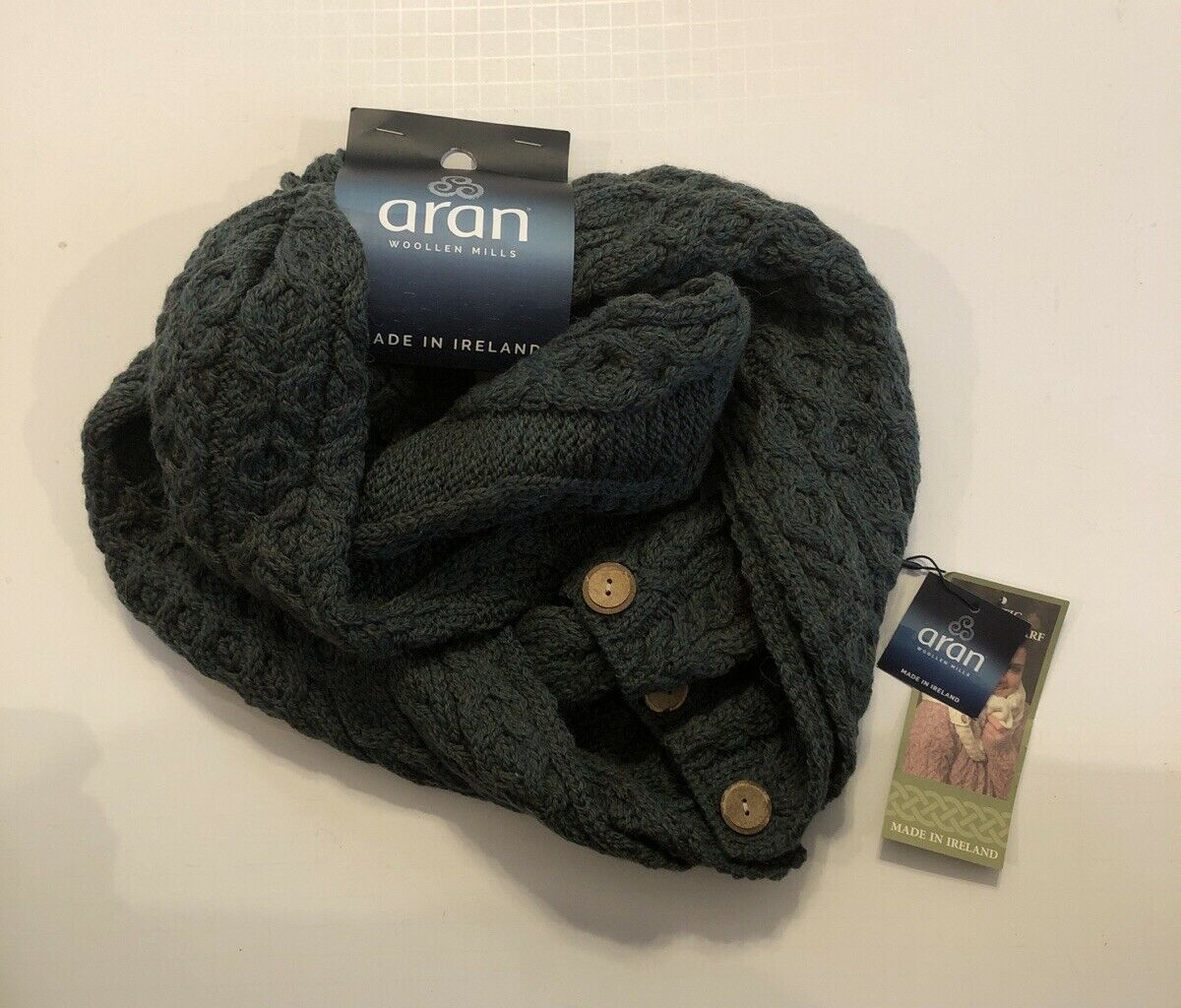 Aran Traditions Knitted Style Cable Design Infinity Scarf Green with Buttons