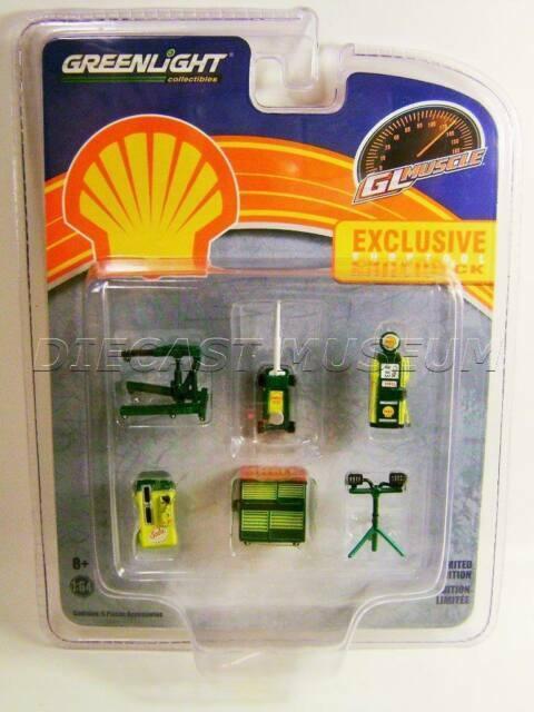SHELL Tool Set Work Bench  Charger Drill Gas Pump *** Greenlight 1:64 NEU