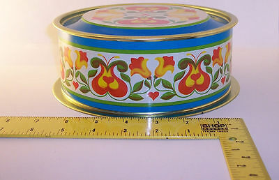 Made in Brazil ~ Bright Floral Tin Container ~ w/ Lid