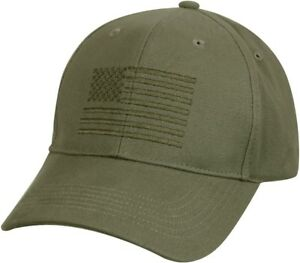 Image is loading Olive-Drab-American-Flag-Embroidered-Low-Profile-Baseball- 64acfa354ec