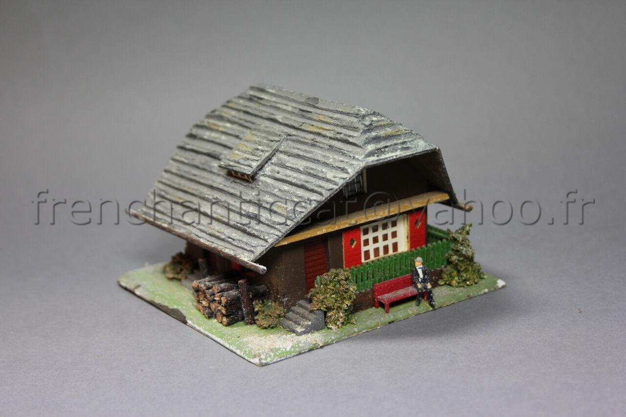 O813 Vintage Modellino Treno Faller Ho Anni 50 N.283 Cottage Montagna Casa