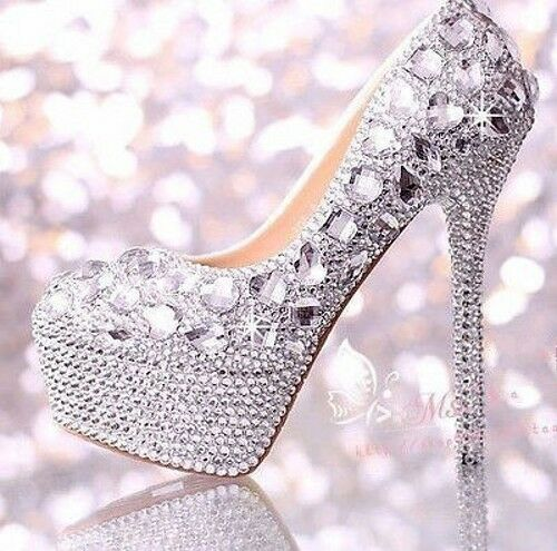 Womens Glitter Crystal Ornate Platform 14cm High Heel Wedding Evening Party Shoe