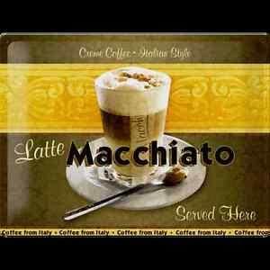 Vintage Cafè Caffè Macchiato Gelateria Targa Riproduzione Poster 565