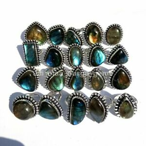 10 Pcs Lot Natural Multi Labradorite Stone 925 Sterling Solid Silver Rings RS-4