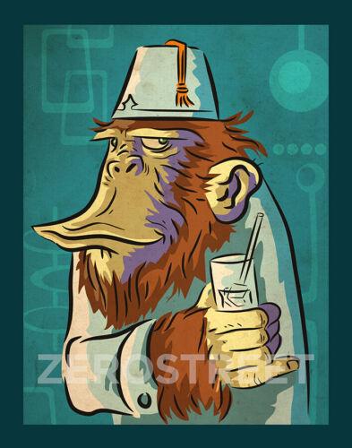 Spencer The Chimp Drunk Ape Fez Tiki Bar Art Print  Man Cave Artwork Monkey