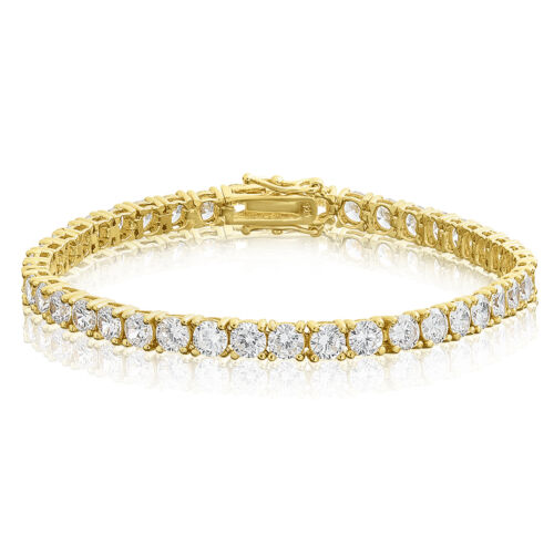Gold Plated Round Cut 4mm CZ Sterling Silver Tennis Bracelet