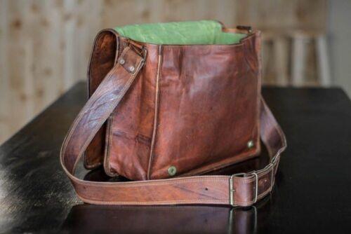 New Men/'s Vintage Brown Leather Full Flap Messenger Laptop Satchel Shoulder Bag