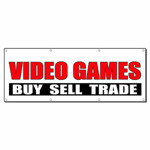 Video Games Buy Sell Trade Promotion Business Sign Banner 2 X 4 W 4 Grommets Ebay