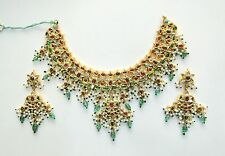 Vintage solid 20k Gold jewelry Diamond Ruby Emerald turquoise Necklace & Earring