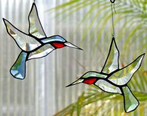 Bleiverglasung-Fensterbild-Suncatcher-Facetten-Kolibri-Paar-in-Tiffany